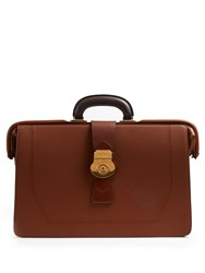 Burberry Trench Textured Leather Briefcase Brown
