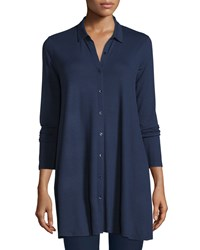 Eileen Fisher Collared Long Sleeve Jersey Tunic Women's Black