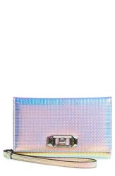 Rebecca Minkoff Women's Love Lock Iphone X Metallic Leather Wristlet Folio None Holographic