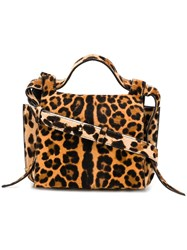 Elena Ghisellini Leopard Angel Shoulder Bag Nude And Neutrals