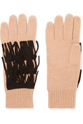 Autumn Cashmere Suede Trimmed Fringed Gloves Tan