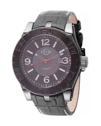 Gv2 La Luna Men's Steel Automatic Watch W Leather Strap Black