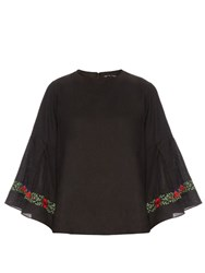 Jupe By Jackie Lance Floral Embroidered Linen Top Black Multi