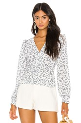 1.State Button Front Afternoon Bouquet Blouse White