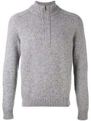 Loro Piana Zip Collar Jumper Men Cashmere Goat Suede 48 Grey