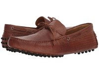 Massimo Matteo Woven Stamped Leather Lace Driver Havana Slip On Dress Shoes Brown