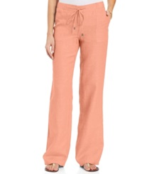 Style And Co. Wide Leg Linen Pants Peach Zing
