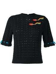 Olympia Le Tan Smoking Lips Beaded Sweater Black
