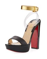 Christian Louboutin Patent Leather Red Sole Sandal Black
