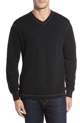 Thaddeus Men's Anthony Slubbed Long Sleeve V Neck T Shirt Black