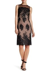 Donna Ricco Sheer Embroidered Illusion Dress Black
