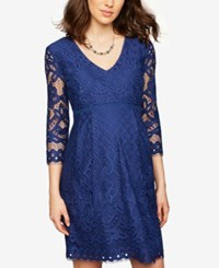 A Pea In The Pod Maternity Lace Babydoll Dress Blue
