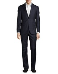 Black Brown Windowpane Wool Suit Bright Navy