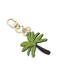 Tory Burch Palm Tree Leather Keychain Green