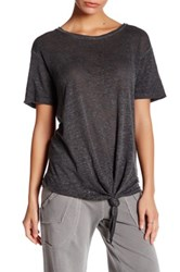 Young Fabulous And Broke Short Sleeve Side Tie Linen Tee Gray