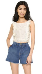 Minkpink Wild Traveler Lace Crop Top Off White