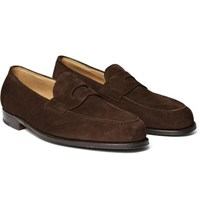 ee636f1f4a3 John Lobb Lopez Suede Penny Loafers Dark Brown