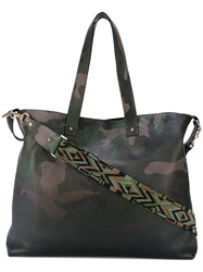 Valentino Garavani Rockstud Camouflage Tote Men Calf Leather One Size Green