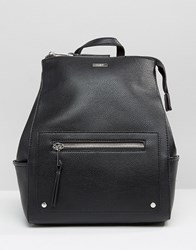 Aldo Structured Backpack With Zip Top And Side Pockets Black
