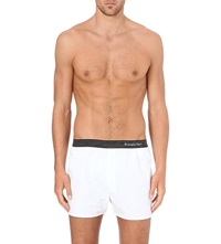 Zegna Contrast Waistband Cotton Boxer Shorts White