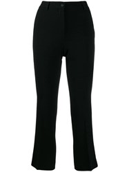 Alberto Biani Cropped Crepe Trousers Black