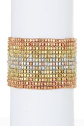 Stephan And Co Beaded Stretch Metal Bracelet Metallic