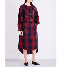 Miharayasuhiro Buffalo Check Print Poplin Shirt Dress Red