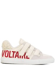 Zadig And Voltaire Glitter Logo Print Strappy Sneakers White