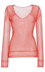 Missoni Long Sleeve Ribbed V Neck Tee Red