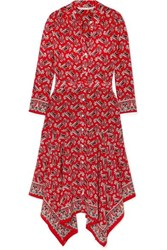 Veronica Beard Willamette Belted Asymmetric Paisley Print Silk Crepe De Chine Dress Red