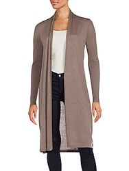 Saks Fifth Avenue Long Open Duster Cardigan Suede Heather
