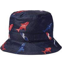 Thom Browne Silk Jacquard Bucket Hat Navy