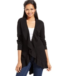 Style And Co. Long Sleeve Ruffle Trim Cardigan Deep Black