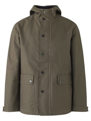 Jigsaw Waxed Cotton Canvas Hooded Jacket Olive