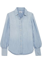 Frame Feminine Gathered Chambray Shirt Light Blue