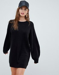 Brave Soul Lulu Sweater Dress With Balloon Sleeves Black