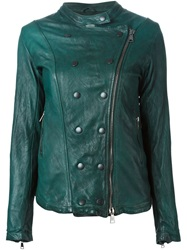 Giorgio Brato Band Collar Distressed Jacket Green