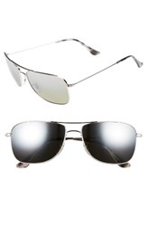Ray Ban Men's 59Mm Polarized Aviator Sunglasses Shiny Silver Grey Mirror Shiny Silver Grey Mirror