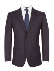Pierre Cardin Striped Notch Collar Classic Fit Suit Jacket Navy