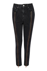 Topshop Moto Exposed Zip Mom Jeans Washed Black
