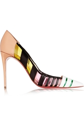 Christian Louboutin Bandy 100 Striped Leather And Pvc Pumps