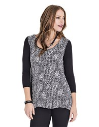 Lysse Cable Knit Surplice Top Graphic Dot