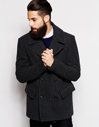 Asos Wool Peacoat In Dark Grey Charcoal