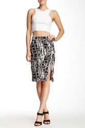 Lily White Printed Pencil Skirt Black