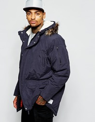 Supreme Being Supremebeing Parka Jacket With Faux Fur Hood Navy
