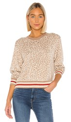 Splendid Leo Reversible Pullover In Tan. Camel Heather Oatmeal And True Red Stripe