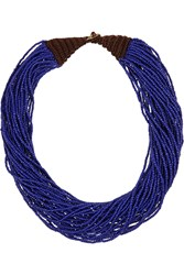 Kenneth Jay Lane Multi Strand Beaded Necklace Blue