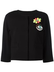 Boutique Moschino Multiple Appliques Cropped Jacket Black