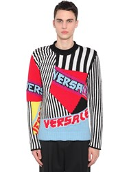 Versace Patchwork Wool Knit Jacquard Sweater Multicolor