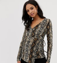 Mamalicious Maternity Long Sleeve Wrap Top In Snake Print Multi